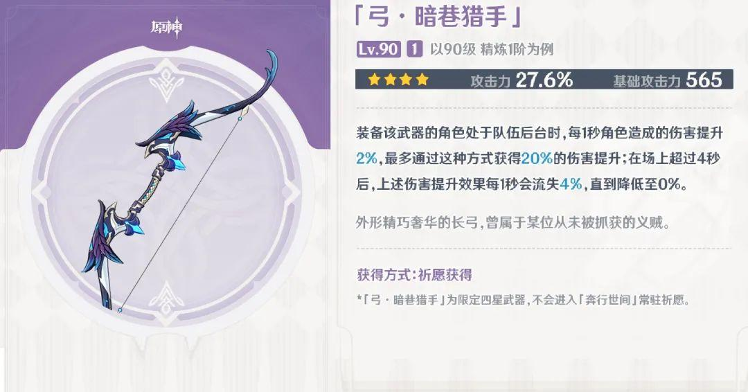 原神:暗巷猎弓强度仅次于五星,输出温迪可用,条件允许建议拿下插图