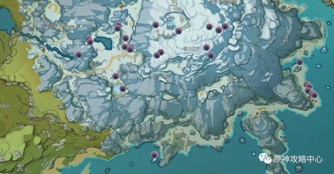 【原神.资源攻略】龙脊雪山矿产资源分布图插图4