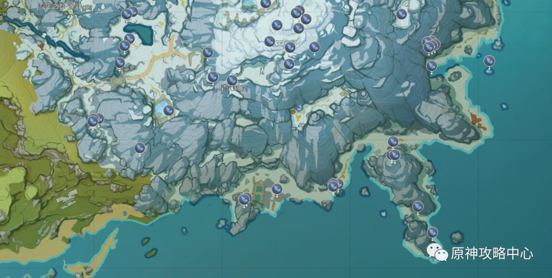 【原神.资源攻略】龙脊雪山矿产资源分布图插图2